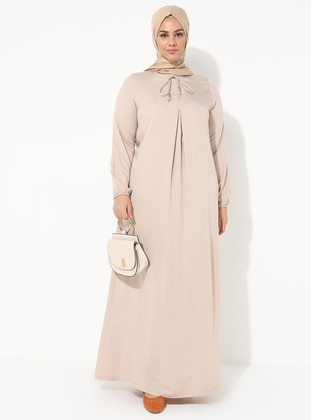 Mink - Crew neck - Unlined - Viscose - Dress