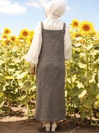Gray - Black - Sweatheart Neckline - Unlined - - Dress