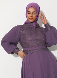 Lilac - Fully Lined - Crew neck - Muslim Plus Size Evening Dress