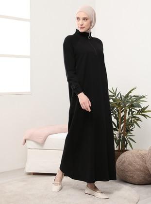 Black - Polo neck - Unlined - - Dress