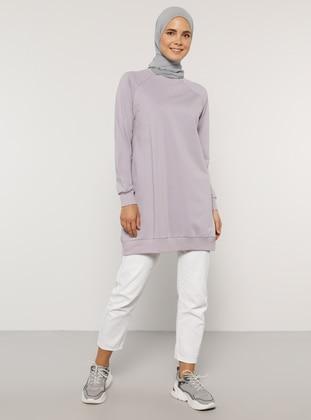 - Crew neck - Lilac - Sweat-shirt