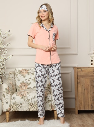 Salmon - Shawl Collar - Multi -  - Pyjama Set