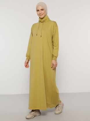 Olive Green - Polo neck - Unlined -  - Dress