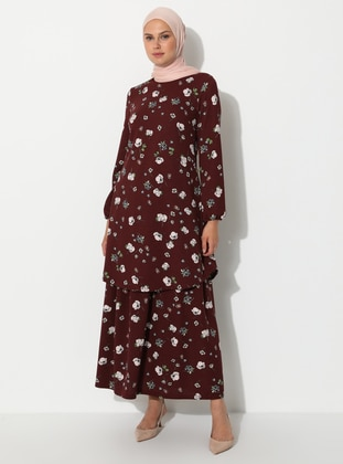 Maroon - Floral - Unlined - Viscose - Skirt