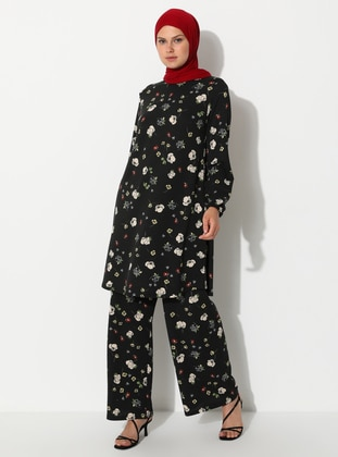 Black - Floral - Viscose - Pants