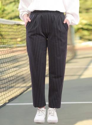 Black - Stripe - - Pants