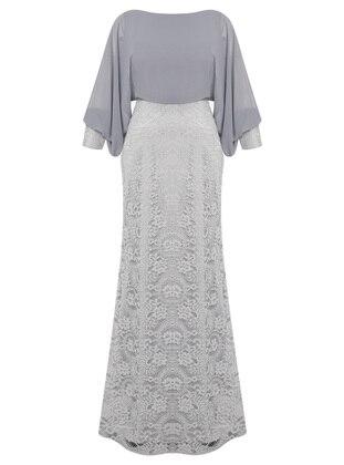 Gray - Fully Lined - V neck Collar - Viscose - Muslim Evening Dress