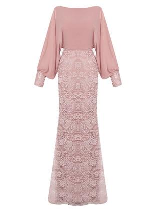 Powder - Fully Lined - V neck Collar - Viscose - Muslim Evening Dress