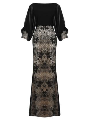 Black - Fully Lined - V neck Collar - Viscose - Muslim Evening Dress