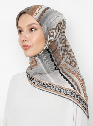 Gray - Cinnamon - Printed - Scarf