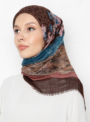 Brown - Multi - Printed - Scarf