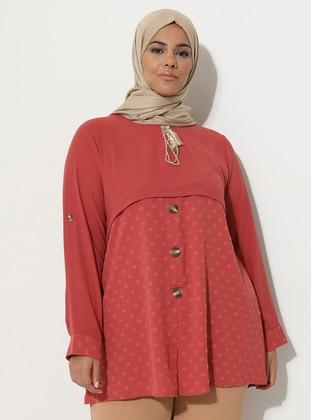 Pink - Crew neck -  - Plus Size Tunic