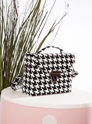 Polyurethane - White - Black - Satchel - Shoulder Bags