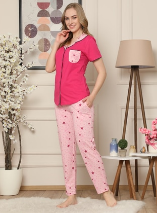 Fuchsia - Shawl Collar - Multi -  - Pyjama Set
