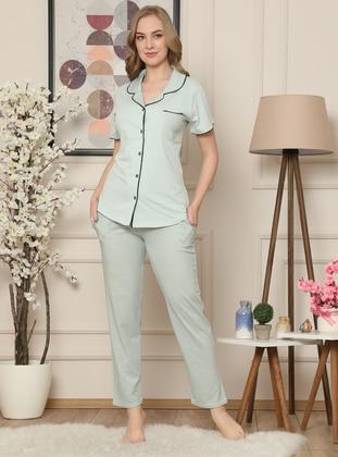Sea-green - Shawl Collar -  - Pyjama Set