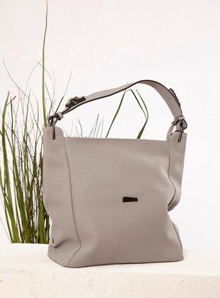 Gray - Polyurethane - Satchel - Clutch - Clutch Bags / Handbags