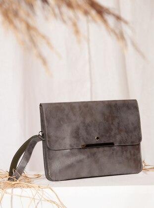 Silver - Polyurethane - Satchel - Clutch - Clutch Bags / Handbags