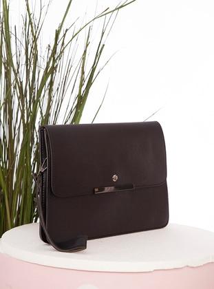 Black - Polyurethane - Satchel - Clutch - Clutch Bags / Handbags
