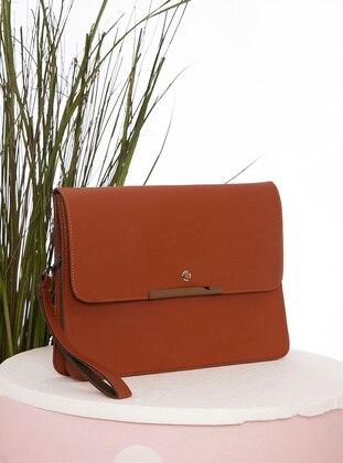 Tan - Polyurethane - Satchel - Clutch - Clutch Bags / Handbags