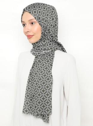 Khaki - Cream - Printed - Shawl
