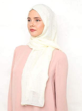 Cream - Plain - Plaid - Viscose - Shawl