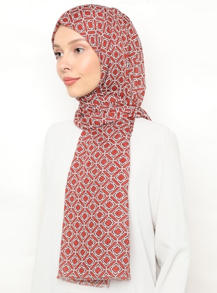 Terra Cotta - Cream - Printed - Shawl