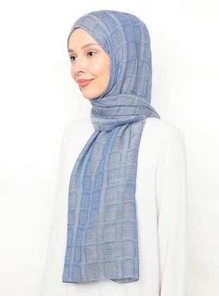 Blue - Plain - Plaid - Viscose - Shawl