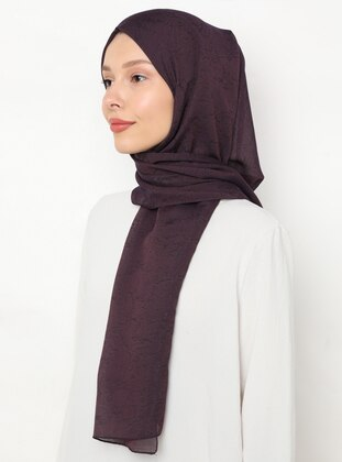 Plum - Plain - Viscose - Shawl