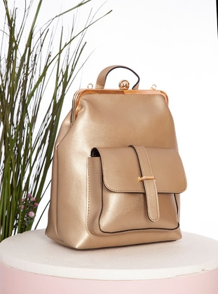 Gold - Polyurethane - Backpack - Backpacks