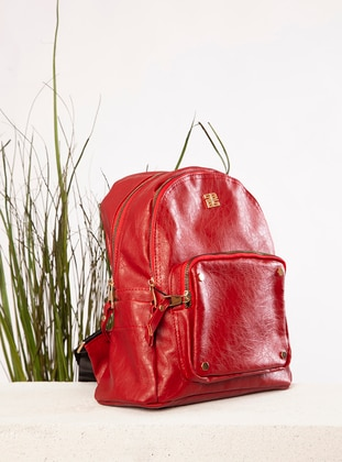 Red - Polyurethane - Backpack - Backpacks