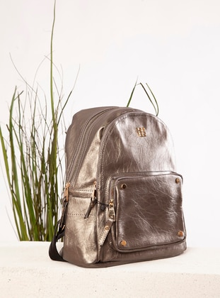 Silver - Polyurethane - Backpack - Backpacks
