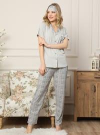 Gray - Shawl Collar - Checkered -  - Pyjama Set