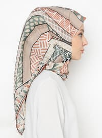 Salmon - Green - Printed - Scarf