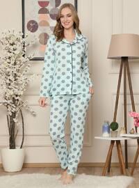 Sea-green - Shawl Collar - Polka Dot - - Pyjama Set
