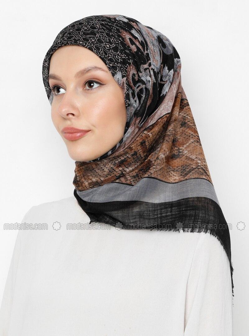 Gray - Black - Printed - Scarf