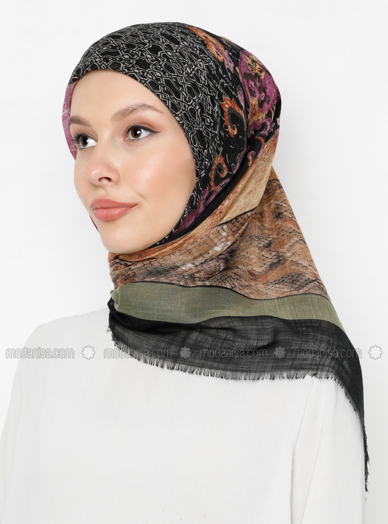 Multi - Black - Green - Printed - Scarf
