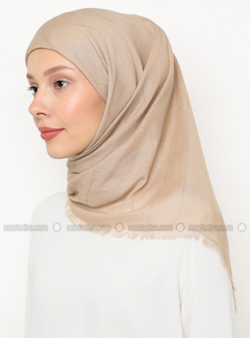 Beige - Striped - Plain - Scarf