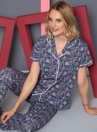 Indigo - Shawl Collar - Multi -  - Pyjama Set