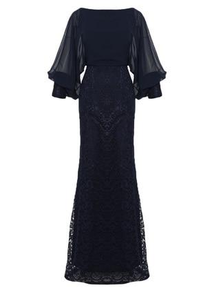 Navy Blue - Fully Lined - V neck Collar - Viscose - Muslim Evening Dress