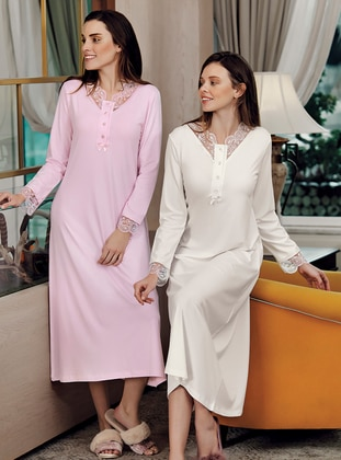 Pink - V neck Collar - Modal -  - Nightdress