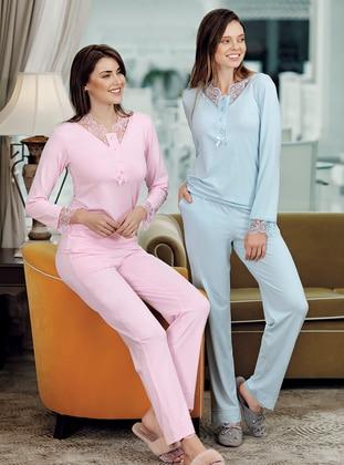 Pink - V neck Collar - Modal -  - Pyjama Set