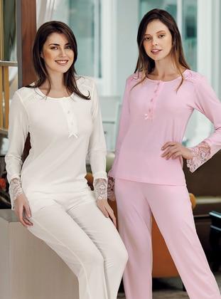Pink - Crew neck - Modal -  - Pyjama Set