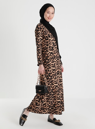 Leopard - Leopard - Crew neck - Unlined - Dress