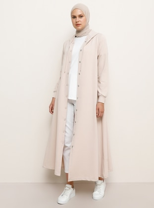 Beige - Unlined - Cotton - Topcoat