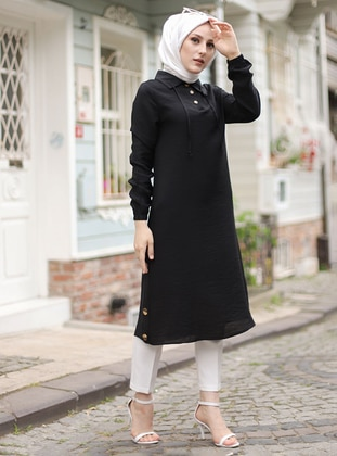 Black - Point Collar -  - Tunic - Tofisa