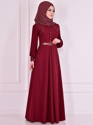 Maroon - Unlined - Crew neck - Muslim Evening Dress