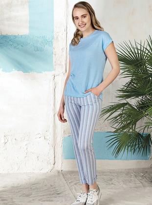 Blue - Crew neck - Stripe -  - Pyjama Set