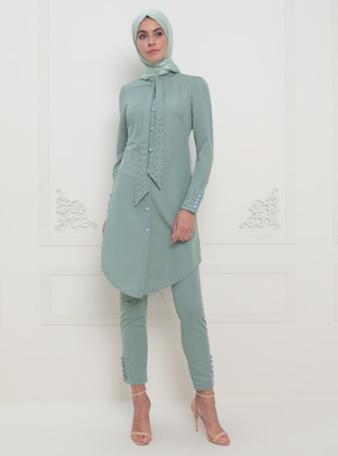 Unlined - Green Almond - Crew neck - Evening Suit