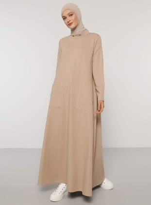 Beige - Crew neck - Unlined -  - Dress