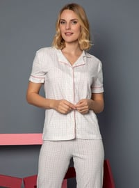 Ecru - Shawl Collar - Multi - - Pyjama Set